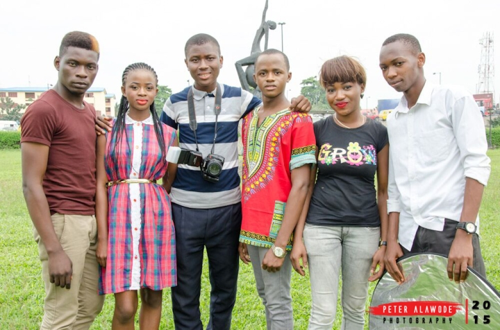 the team - From L - R - Lekeshades the mua for the male model chris, Nike, Peter Alawode , Chrostopher Igwebuike, Adenike (Mua for the Nike)and Josh Osobase of Peter Alawode Photography